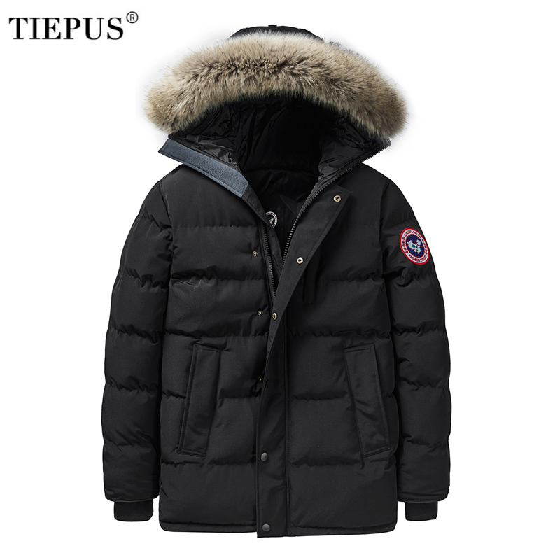 TIEPUS Winter Jacket men 6XL 7XL 8XL Middle age Thick Warm Parkas men Multi-Pocket Cargo Jacket coat windbreaker Hooded clothing pocket