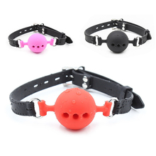 Pair of silicone ball gag BDSM bondage restraints to open his mouth breathable half Ball strap gag sex toys for women accessories