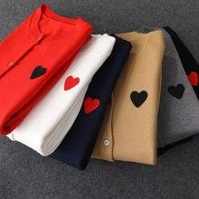 Suéter de manga larga para mujer, cárdigan de lana con corazón de amor y melocotón, suéteres informales bordados de punto para otoño e invierno con ojos