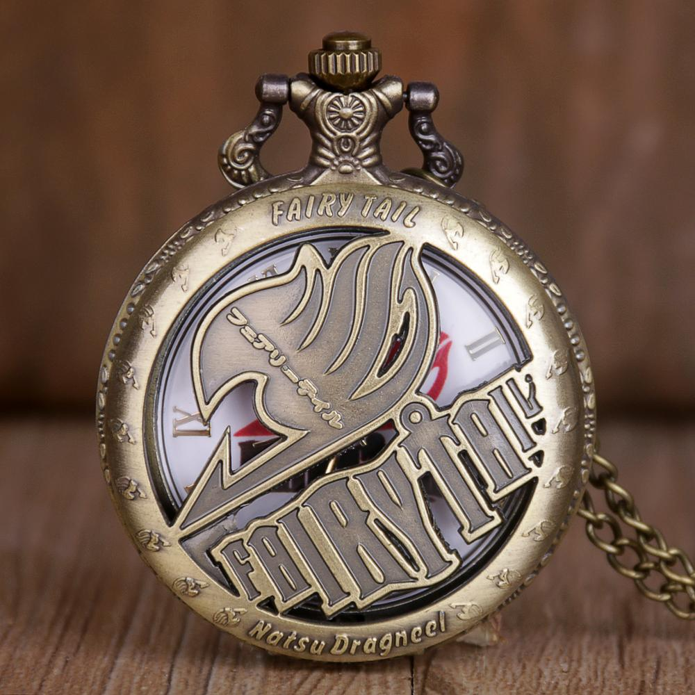New Arrival Pocket Watches Animate Fairy Tail Hollow Natus Dragneel Design Quartz Pocket Watch With Necklace Chain For Men Women