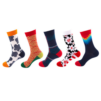 5pcs/lot Women Harajuku Style Socks Autumn and Winter Personality Couples Socks Female Trend Funny Cotton Hip-hop Socks image