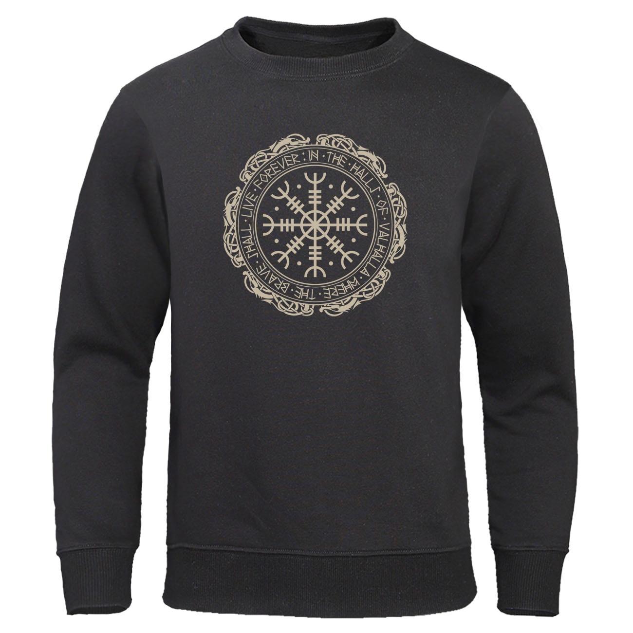 2019 Sweatshirts Retro Classic Viking Valhalla Odin Autumn Winter Sweatshirt Hoodie Men Fashion Print Hoodies Hip Hop Streetwear