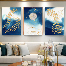 Golden Sun Fish Abstract Canvas Painting Wall Art Nordic Landscape Posters And Prints Room Decoration Pictures Modern Home Decor laeacco nordic oil painting abstract forest landscape canvas posters and prints wall art canvas painting modern room decoration