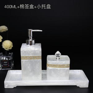 Image 4 - שרף אביזרי אמבטיה, יד sanitizer בקבוק ג ל dipenser האמבטיה ערכת כותנה ספוגית תיבת מגש לשטוף סט אמבטיה קישוט