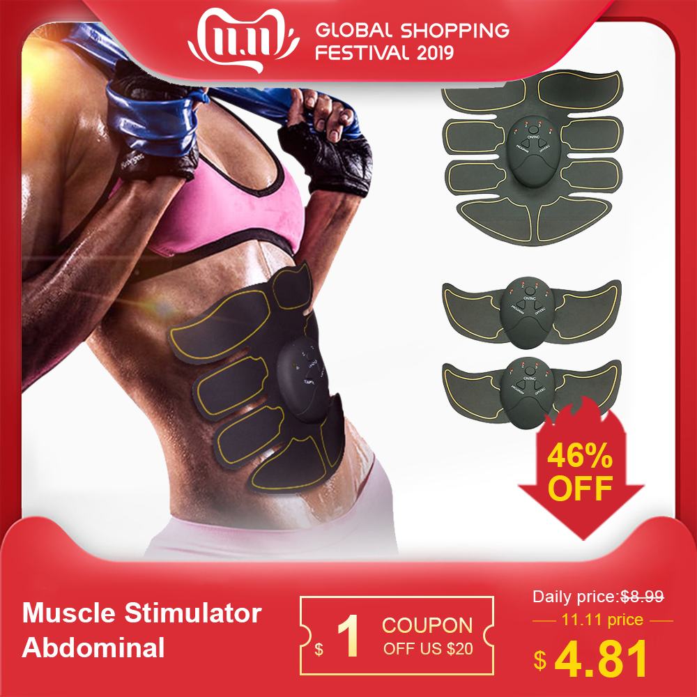 Body Building Fitness Muscle Stimulator Abdominal Exerciser Device Abdominal Muscle Trainer Body Slimming Fat Burning Exerciser