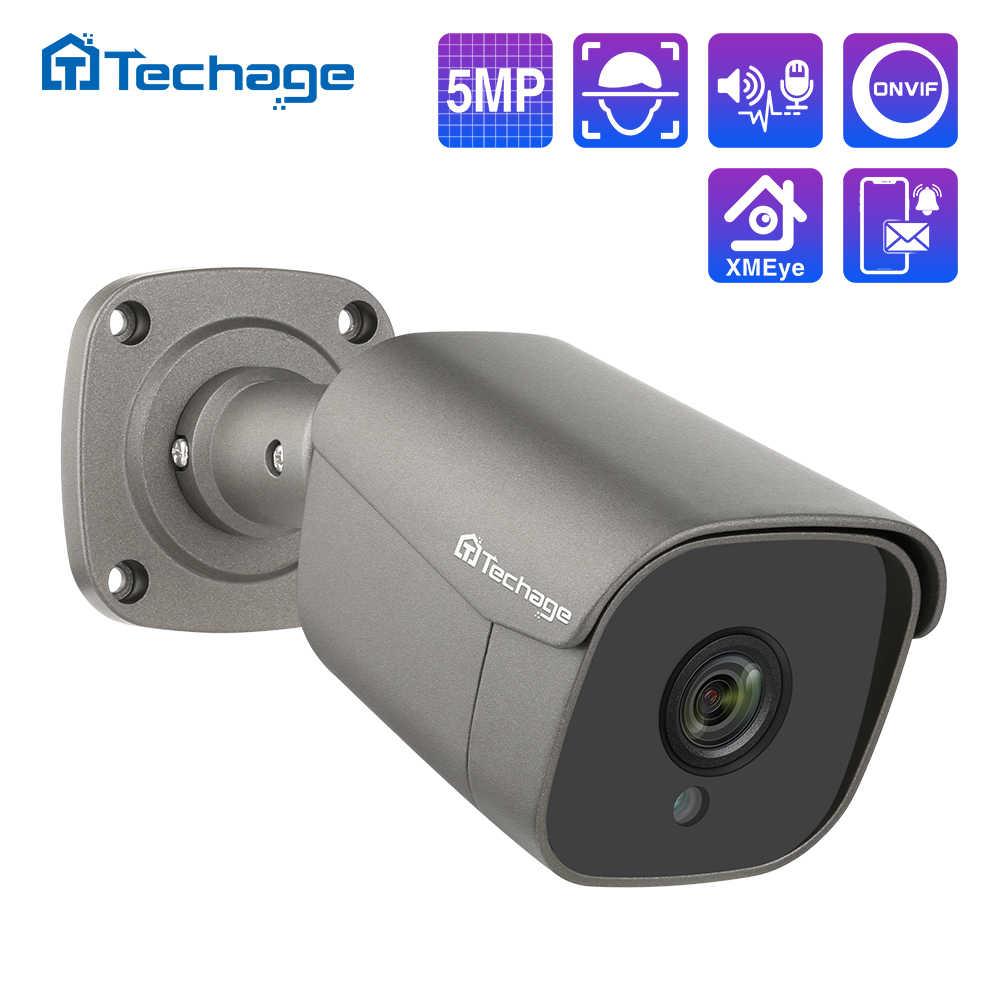 Techage H.265 5MP FULL HD POEกล้องIP Two Way Audio AIกล้องIR-CUTกลางแจ้งการเฝ้าระวังวิดีโอสำหรับONVIFระบบNVR