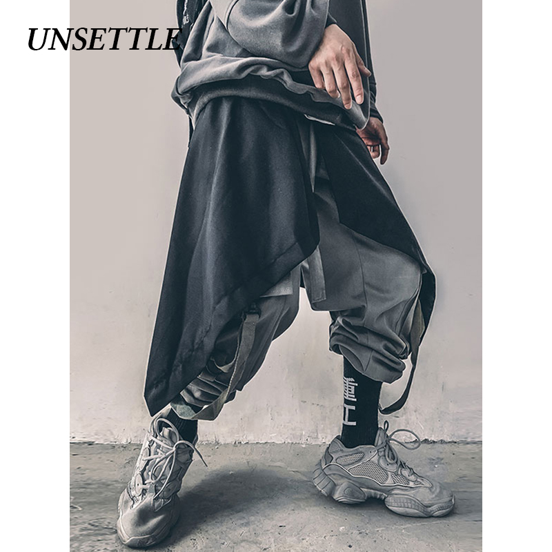 UNSETTLEMen Irregular Design Punk Hip Hop Skirt Pants Black Pleated Apron Men Harajuku Nightclub DJ Singer Stage Clothing Gothic