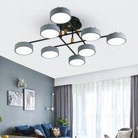 회색 금속 lampshades 샹들리에 거실 현대 라운드 220 v led 샹들리에 화이트 침실 조명기구
