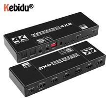 Dropship HDMI 호환 매트릭스 Navceker 18.5 Gbps 4x2 4K @ 60Hz 스위치 분배기 SPDIF 및 L/R HDR HDMI 호환 스위치 4x2