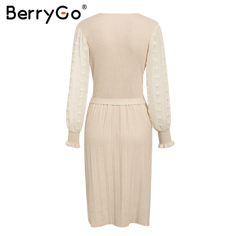 BerryGo Ruffle long sleeve knitted dress women V neck sashes female pleated dresses High waist luxury autumn winter office dress 10