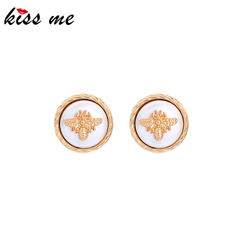 Kissme Exquisite Round White Coating Zinc Alloy Gold Color Bee Insect Stud Earrings For Women Gifts Fashion Jewelry Wholesale