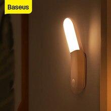 Baseus pir conduziu a luz do sensor de movimento y-forma luz do corredor magnético cabeceira luz da noite de emergência armário roupeiro escadas 0.5w usb