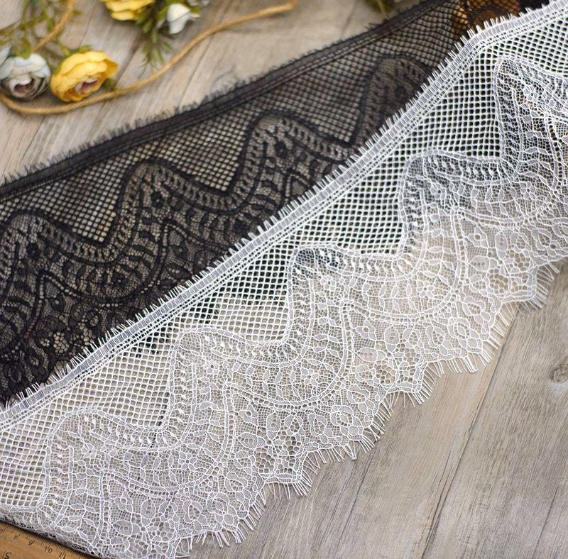 9 metros fina enadine branco preto floral bordado cílios laço fita para decoração de vestuário e diy artesanato rendas aparar
