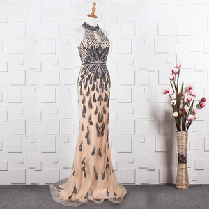 Image 3 - YY020 Churlya Wurfel dubai luxury evening gown latest gown design halter evening dress mermaid abendkleider 2020 kristall luxus