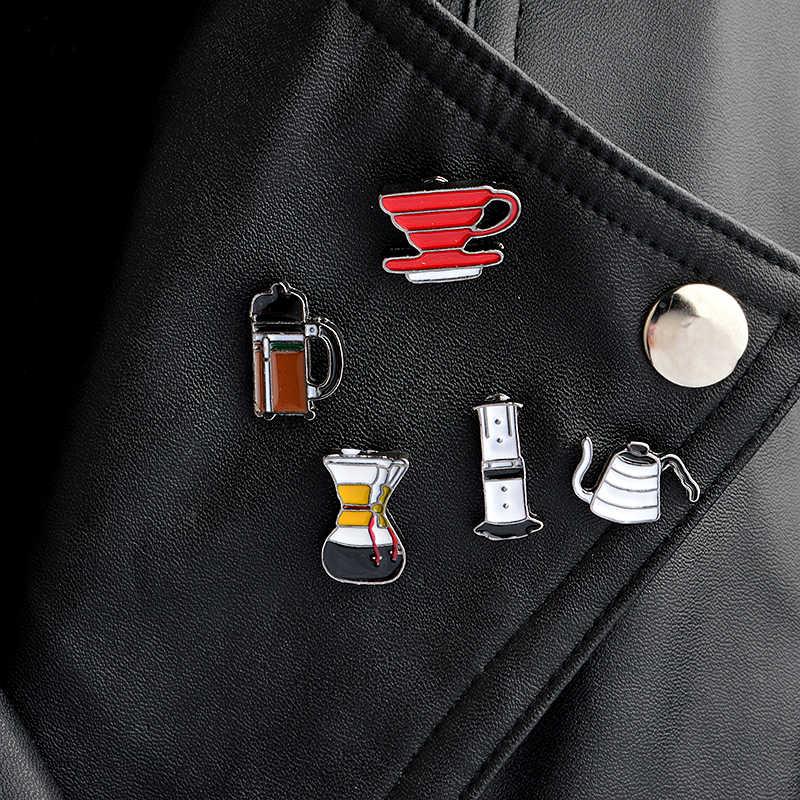 الأمريكية القهوة مجموعة دبوس AeroPress Chemex كوب فلتر دبوس المينا دبابيس حقيبة قميص التلبيب شارة بدبوس خاتم هدايا مجوهرات أنيقة بالجملة