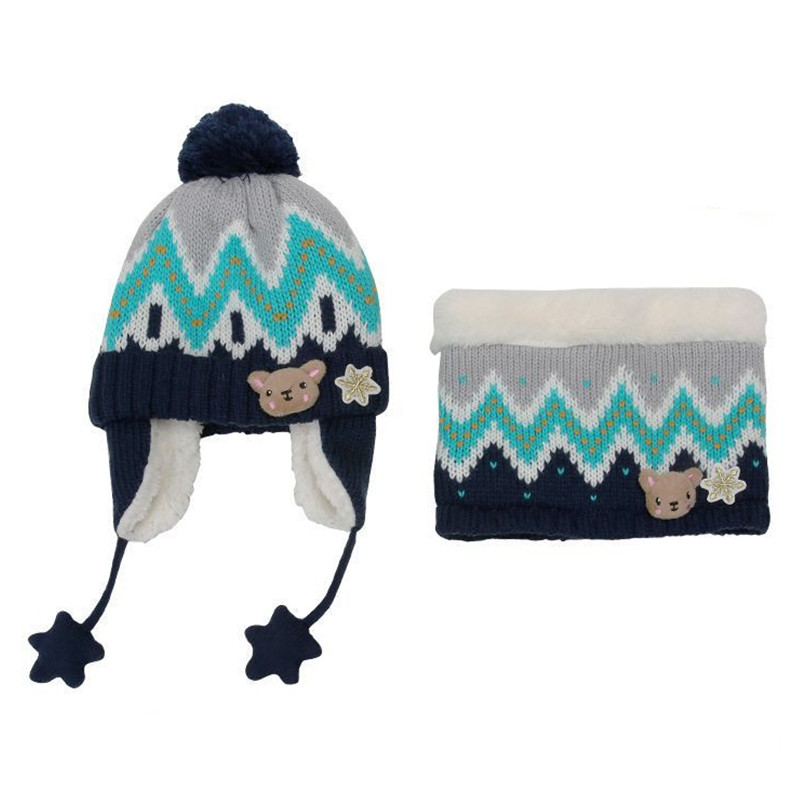 New Winter Hat And Scarf Set Thick Knitted Baby Hat For Children Warm Plus Velvet Hat Girls Boys Kids Hat Scarf Set Accessories