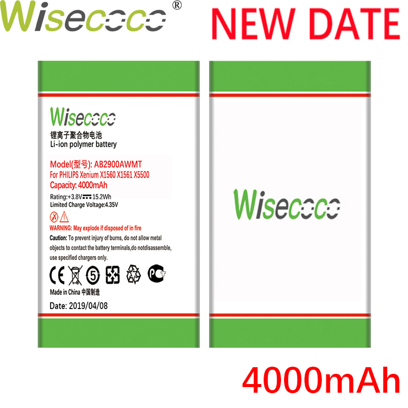 Wisecoco AB2900AWMT 4000mAh New Powerful For <font><b>Philips</b></font> <font><b>X1560</b></font> X1561 X5500 CTX1560 CTX1561 CTX5500 Phone Battery+Tracking Number image