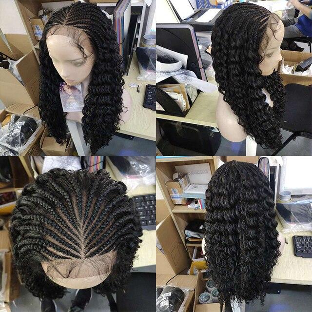 Kalyss 28 polegadas mão trançado perucas para preto feminino peruca dianteira do laço sintético com cabelo do bebê encaracolado ondulado para cosplay peruca