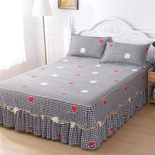 Suitable for summer new bed skirt with golden lace 1pcs give you an extra 2 pcs pillowcase