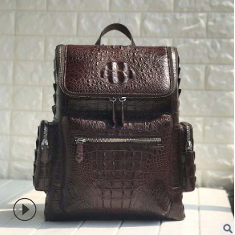 Ouruili  New Summer  Crocodile Leather Skull Man Handbag Business Practical Personality Backpack