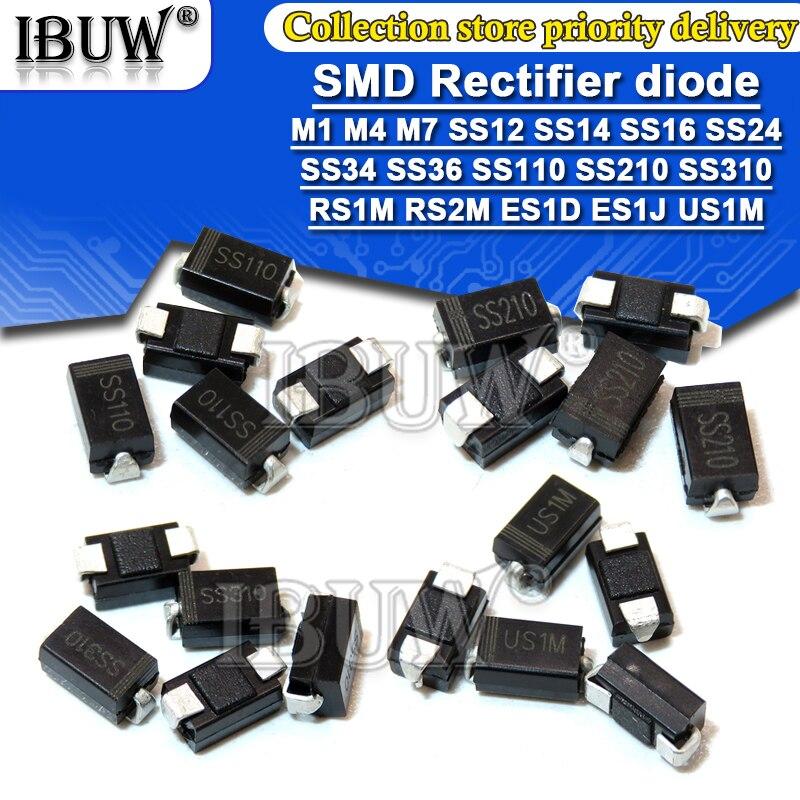 100PCS diodo Retificador M1 M4 M7 SS12 SS14 SS16 SS24 SS34 SS36 SS110 SS210 SS210 US1M RS2M ES1D DO-214AC diodos Schottky
