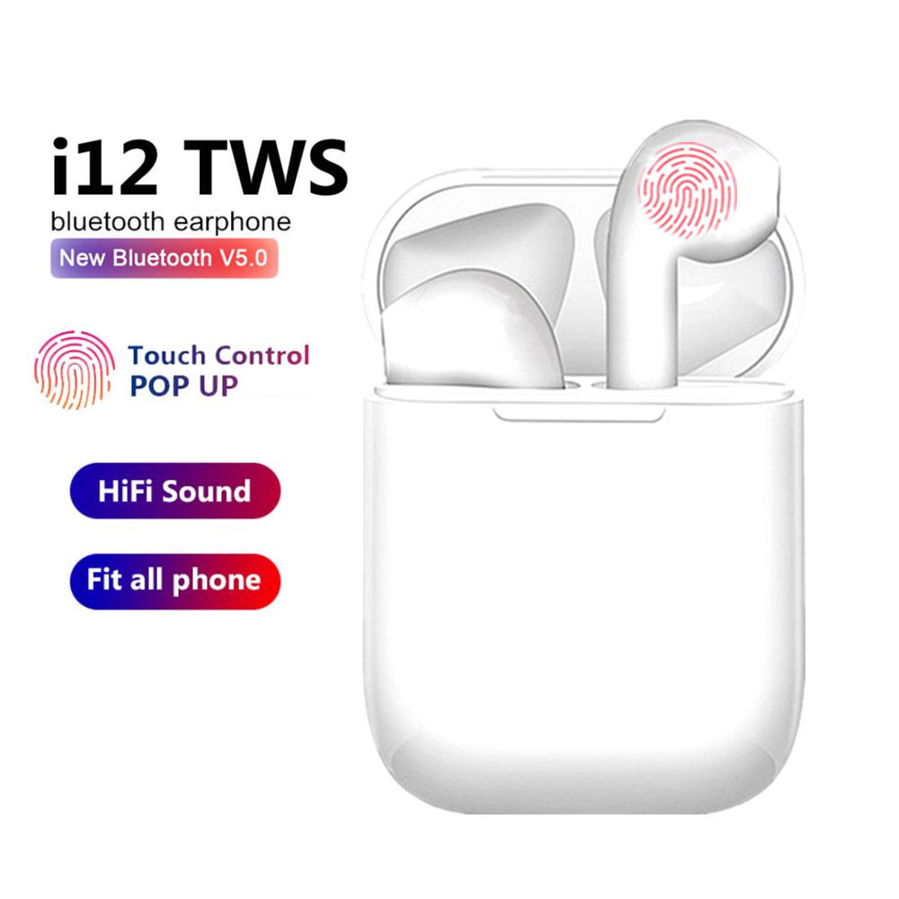 Original i12 TWS Wireless Headset Bluetooth 5.0 Touch Sport Earphones Stereo For iPhone Xiaomi Huawei Samsung Android Phone