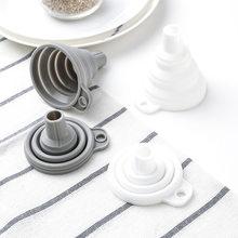 1 pçs silicone dobrável funil dobrável funil de cozinha do agregado familiar para transferência de fluido líquido mini portátil pote óleo funil