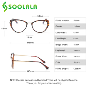 Image 5 - SOOLALA 안티 블루 라이트 고양이 눈 합금 독서 안경 여성 클리어 렌즈 안경 노안 안경 0.5 0.75 1.25 1.5 1.75 to 5.0