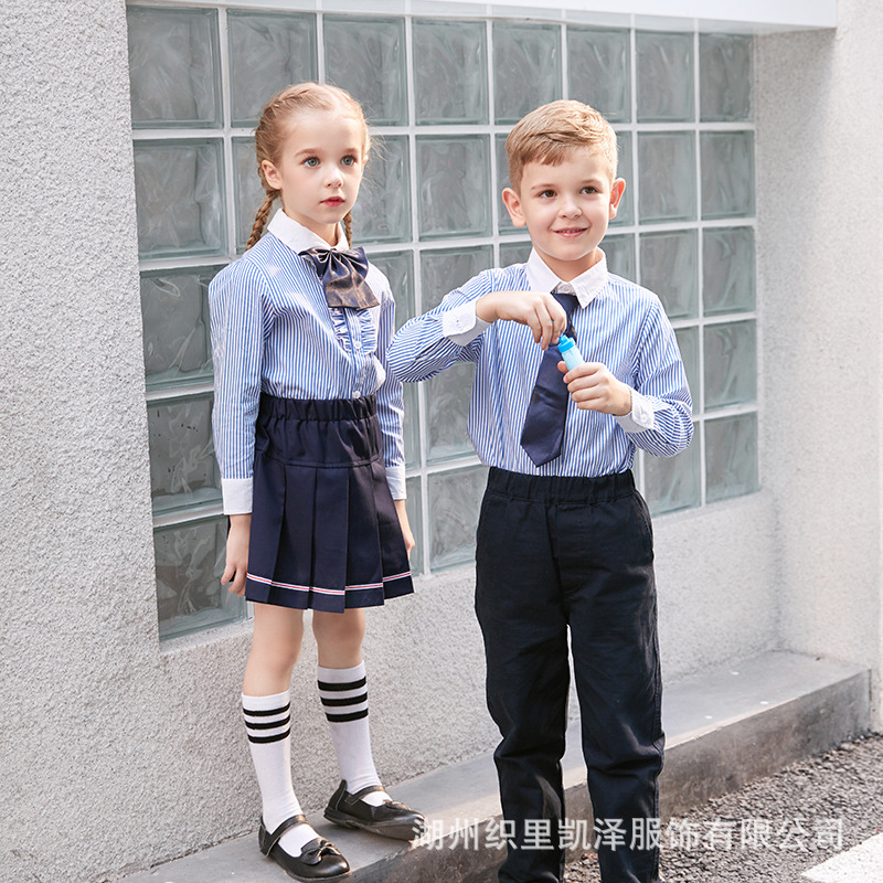 Girls Spring And Autumn Shirt Western Style Korean-style Clothes Kindergarten Young STUDENT'S School Uniform BOY'S Long Sleeve S