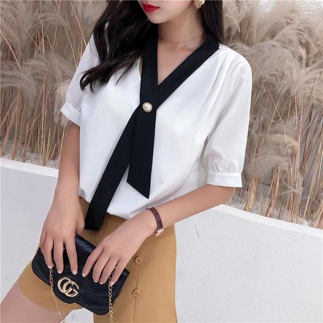 Women's Spring Summer Style Chiffon Blouse Shirt Women's Patchwork V-neck Short Sleeve Ruffles Elegant Temperament Tops DD8443 3