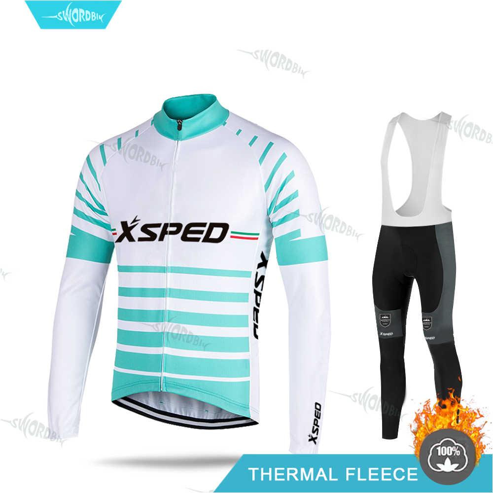 Men's Winter Cycle Clothing MTB Cycling Jersey Set 2020 Thermal Fleece Road Bike Wear Suit Mountian Bkie Sportwear Ropa Ciclismo