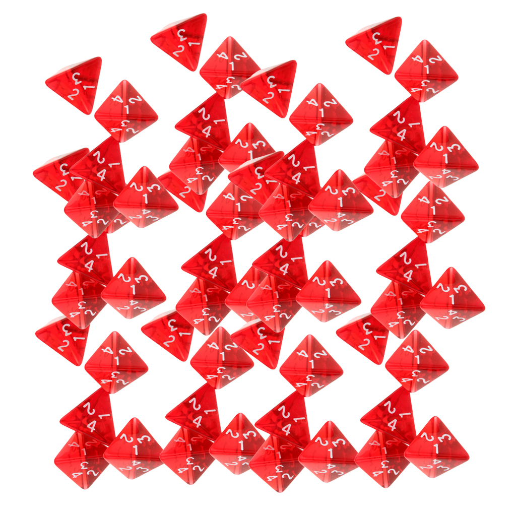 60pcs Dice Set D4 for DND Dungeons and Dragons Role Playing Game and Tabletop Red Acrylic image