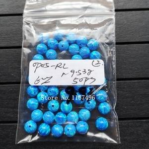Image 2 - 100 יח\חבילה 6mm סינטטי עגול כדור אופל חרוזים כחול עגול אופל אבן מחיר עבור צמיד & שרשרת