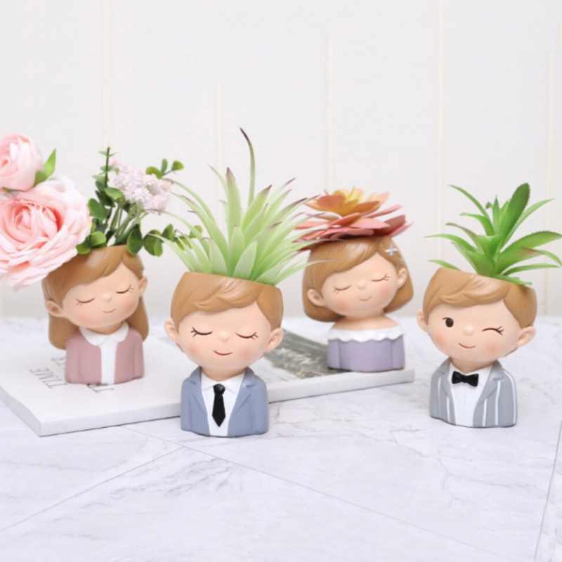 Pot Bunga Pot Tanaman Gadis Lucu Berbentuk Planter Desktop Pot Bunga Succulent Kaktus Pot Rumah Plant