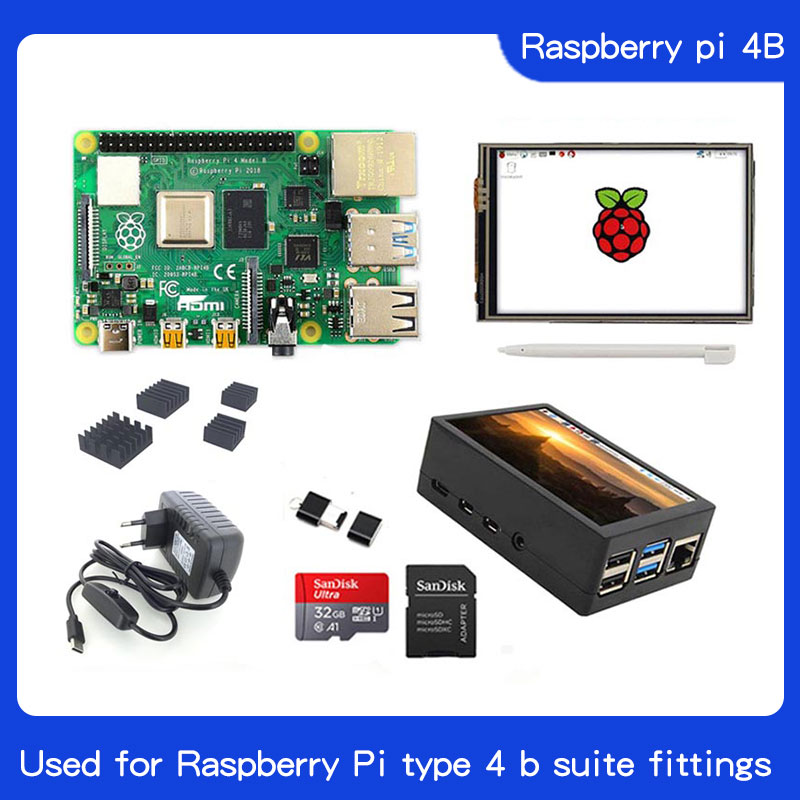 Raspberry Pi 4 Model B Kit 3.5 Inch LCD |32GB SD Card |ABS Case|Heat Sink|USB C Power Adapter For Raspberry Pi 4B
