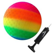 8.5 Inch Gradient Rainbow Playground Ball for Kids Soft PVC Bouncy Kick Ball for Backyard Park and Beach Outdoor Fun with Pump