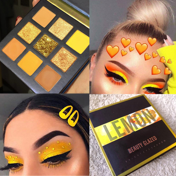 Beauty Glazed 9 Colors Eyeshadow Pallete Pink Yellow Glitter Shimmer Matte Eye Shadow Makeup Palette Cosmetics Pigment Sombras glitter eyeshadow 9 colors makeup pallete matte eye shadow palette shimmer and shine diamond eyeshadow powder pigment cosmetics