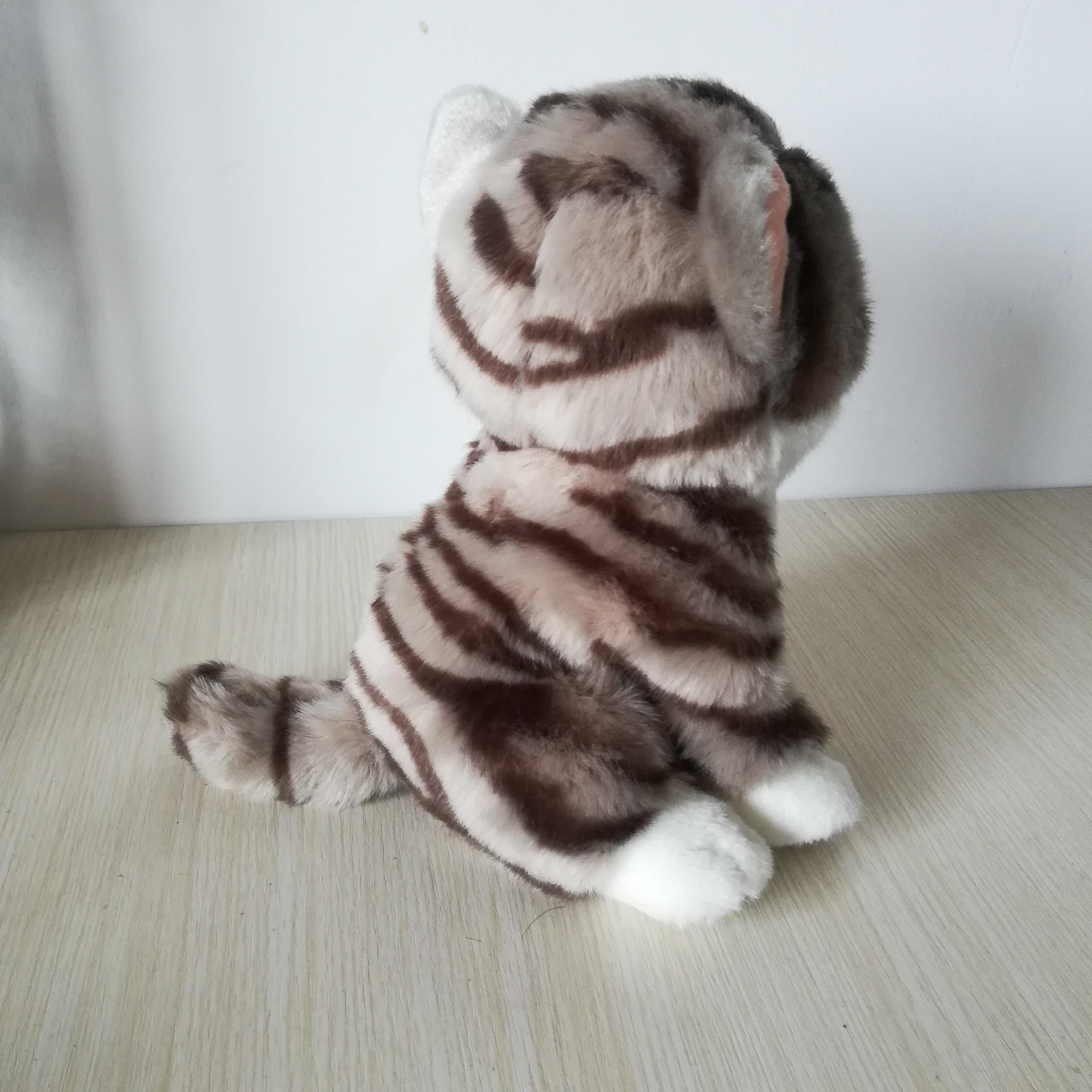 Environ 21cm chat squattant belle gris kitty doux poupée bébé jouet cadeau d'anniversaire s0165 - 4
