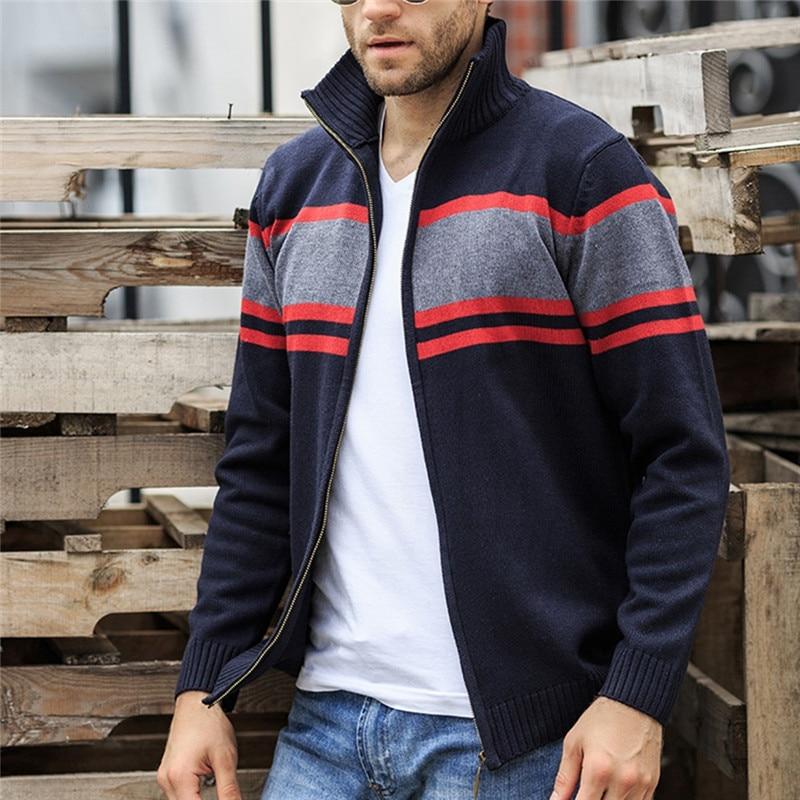 Solid Zipper Sweater Coat for Men Zipper Spring Winter Beige Coat Men Casual Long Sleeve Sweatshirts Male Jackets #2g15 (18)