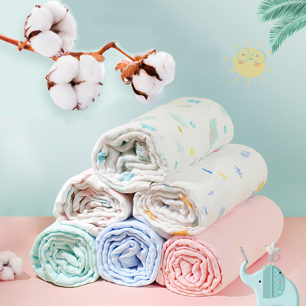 2Pcs/Lot Muslin 100% Cotton Flannel Baby Swaddles Soft Newborns Blankets Baby Blankets Newborn Diapers Baby Swaddle Wrap 120*110