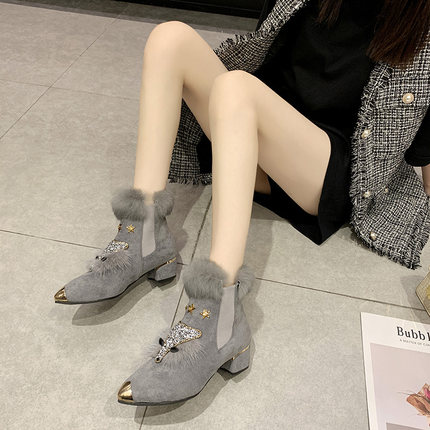 Shoes female winter plus velvet fox scalp shoes women's platform high heel pointed boots short boots rabbit fur snow boots 28