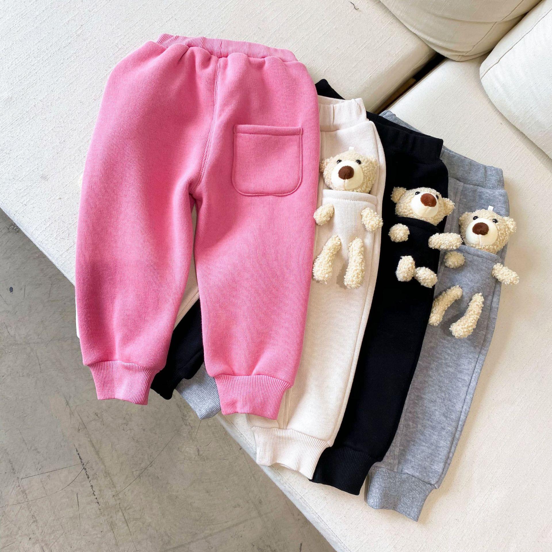 2021 Autumn Winter New Arrival Boys and Girls Cartoon Bear Pants Kids Warm Fleece Trousers 1