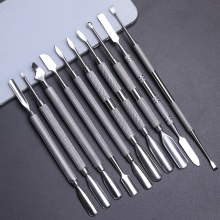 1 шт двухконцевая ложка-толкатель для удаления кутикулы из нержавеющей стали для ногтей триммер для удаления омертвевшей кожи маникюрный очиститель для педикюра инструмент для ногтей JI34-43