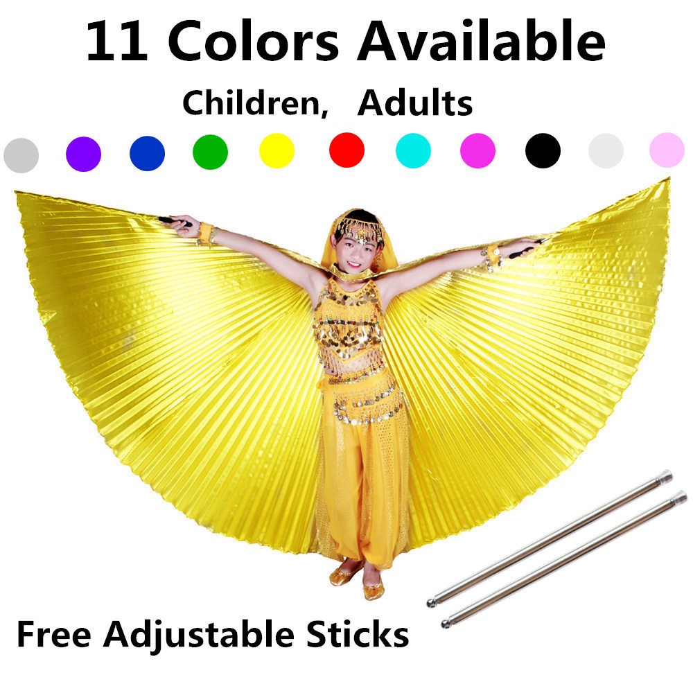 Belly Dance Wings Kids Bellydance Costumes Adult Bollywood Belly Dancing Angle Wings Gold Girls Children 11 Colors Free Sticks