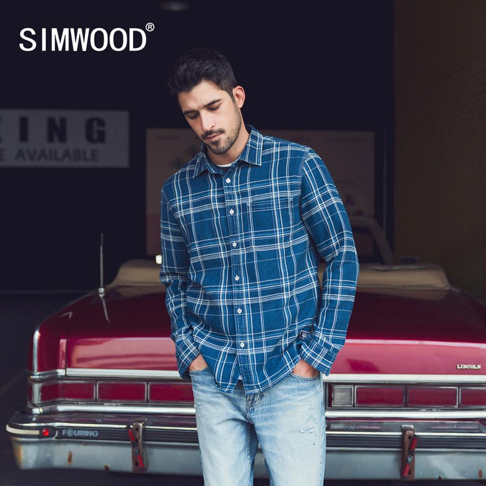 SIMWOOD 2020 Spring Summer New 100% Cotton Plaid Shirts Men Denim Fashion Casual Check Shirts Plus Size Brand Clothing SJ130154
