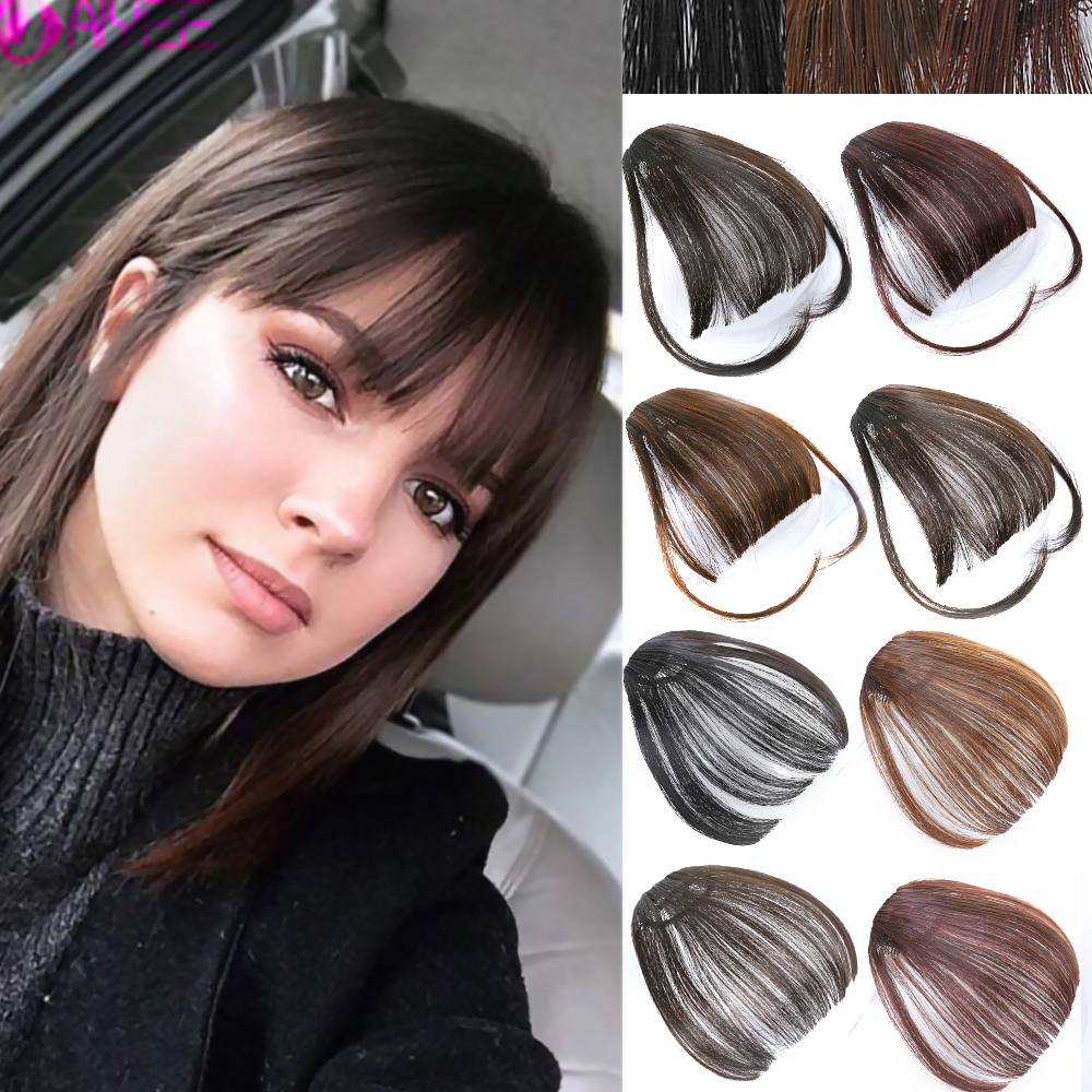 AIYEE Synthetic Air Bangs Front Fake Wigs Thin Blunt Clip In Hair Bangs Hairpiece Heat-resistant Fiber Synthetic Hair Bangs Wig
