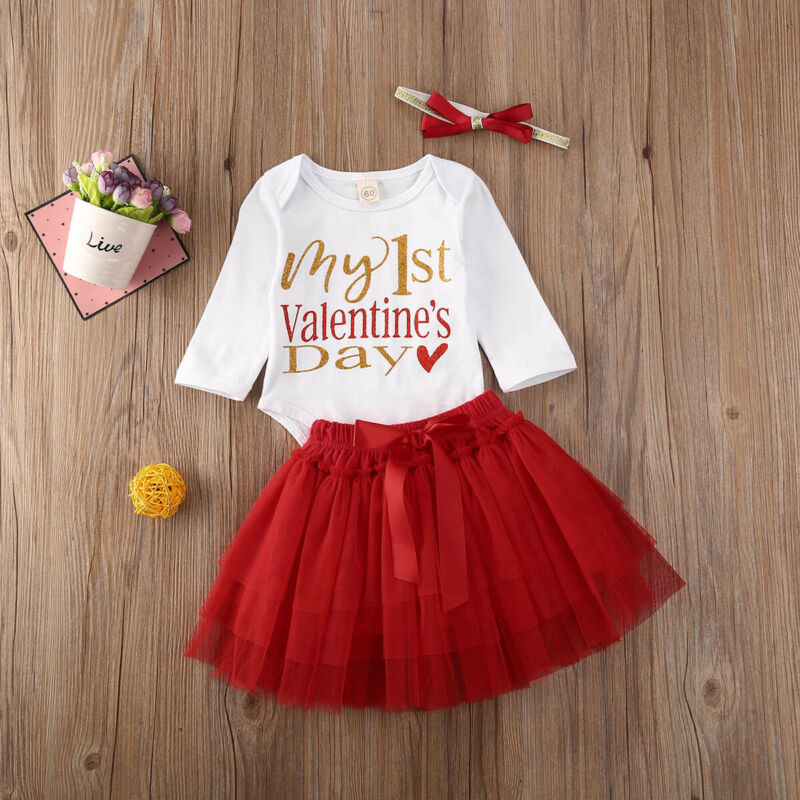 Купить с кэшбэком MY 1st Valentine's Day Newborn Baby Clothes Sets 3Pcs Princess Girl Tops Bodysuits+Tulle Skirt+Cute Bow Tie Cotton Outfits 0-18M