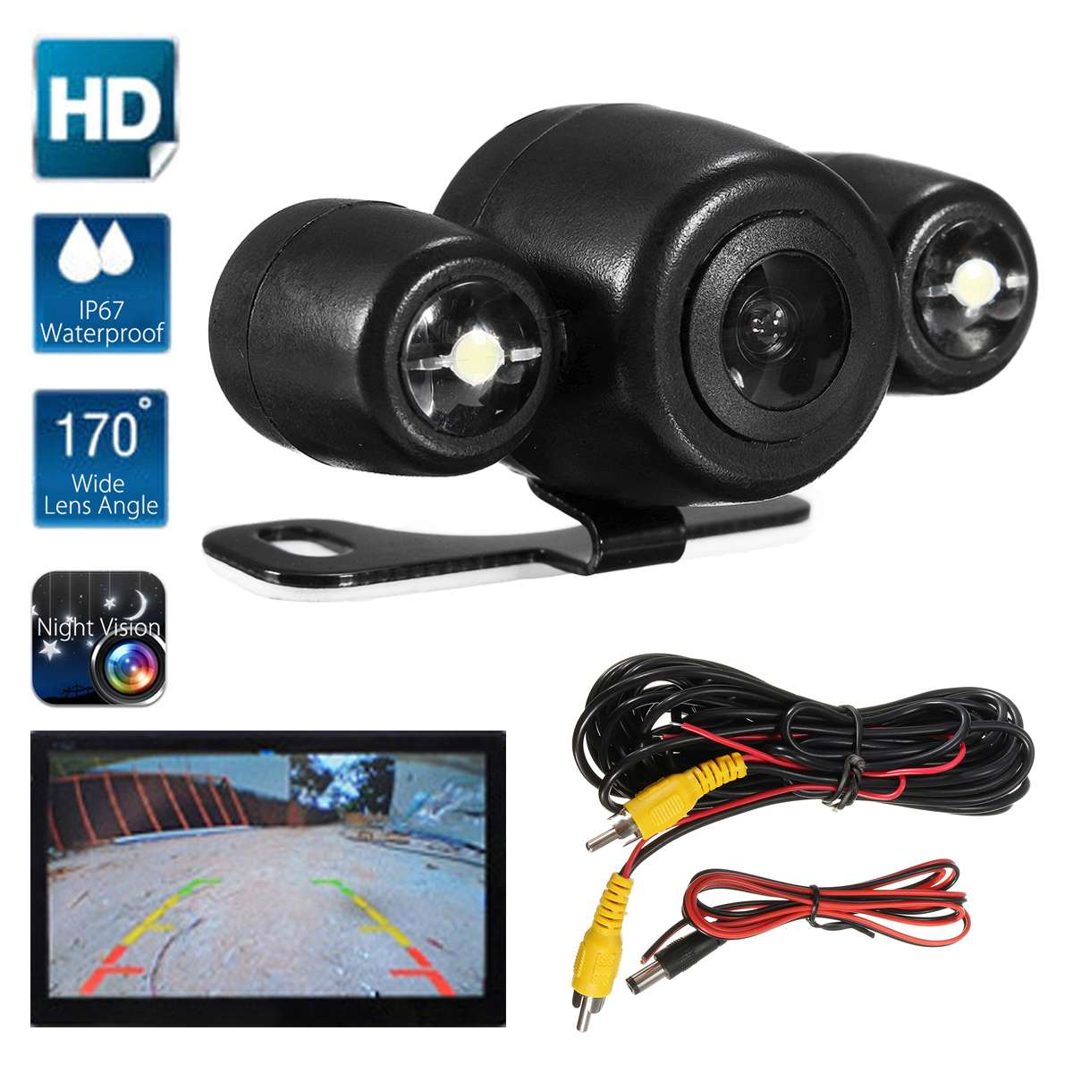 Waterproof Car Rear View Camera Reverse Backup Parking Camera 170 Degree Wide Angle Waterproof Night Vision Dual LED Camera|Vehicle Camera| |  -