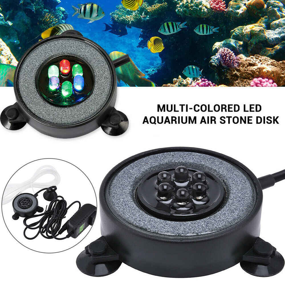 multicolor tanque de peces LED para acuario con 6 LED que cambian de color Luz de acuario de burbuja redonda pecera