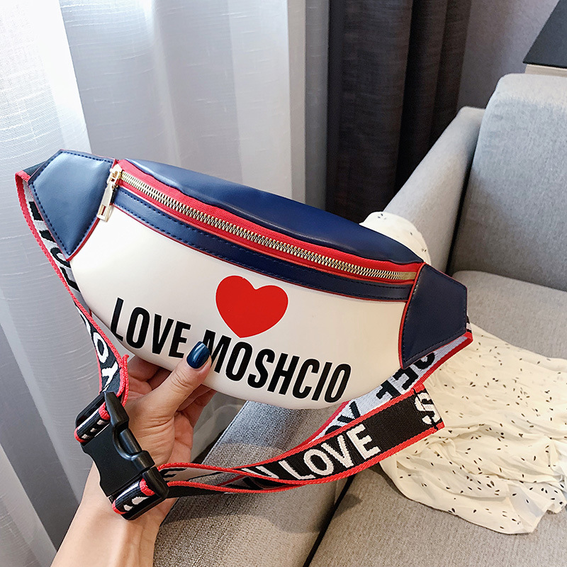 Solid Color Love Heart Decor Women Waist Bag PU Leather Crossbody Shoulder Bag Chest Bags Fashion Ladies Fanny Pack Belt Bag